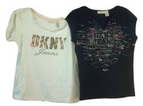 DKNY Front Logo Short Sleeve T Shirt Black and White