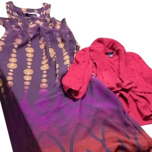 Purple, Red Gold Maxi Dress by DKNY Jeans