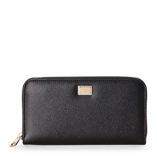 Dolce&Gabbana Black Dauphine Leather Zip Wallet