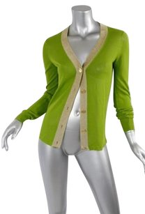 Dolce&Gabbana Lime Greengold Viscosecotton Knit Cardigan Jacket 40s Sweater