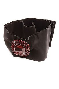 Dolce&Gabbana Dolce Gabbana Red Crystal Black Grosgrain Belt Size 42