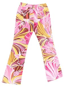 Dolce&Gabbana Dolce And Gabbana Flat Tropical Pink Maroon Flare Pants Tropical Multi