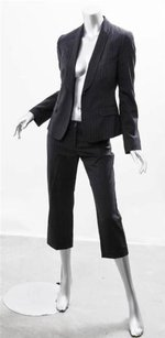Dolce&Gabbana Dolce Gabbana Womens Black Pinstripe One-button Cropped Pant Suit Outfit