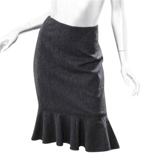 Dolce&Gabbana Charcoal Wool Tweed Fitted Flared Hem Knee Length Skirt Gray