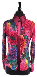 Dolce&Gabbana Floral Lace Sheer Longsleeve Top Multi-Color