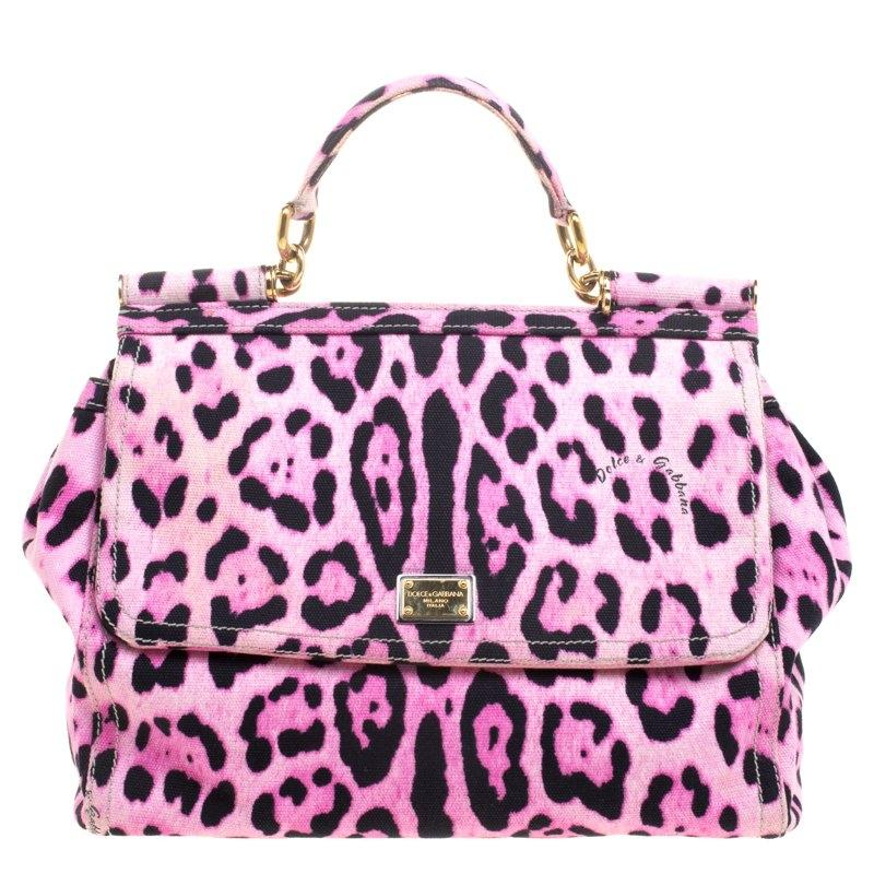 Dolce&Gabbana Dolce Gabbana Print Canvas Large Miss Sicily Satchel in Pink  and Black Leopard