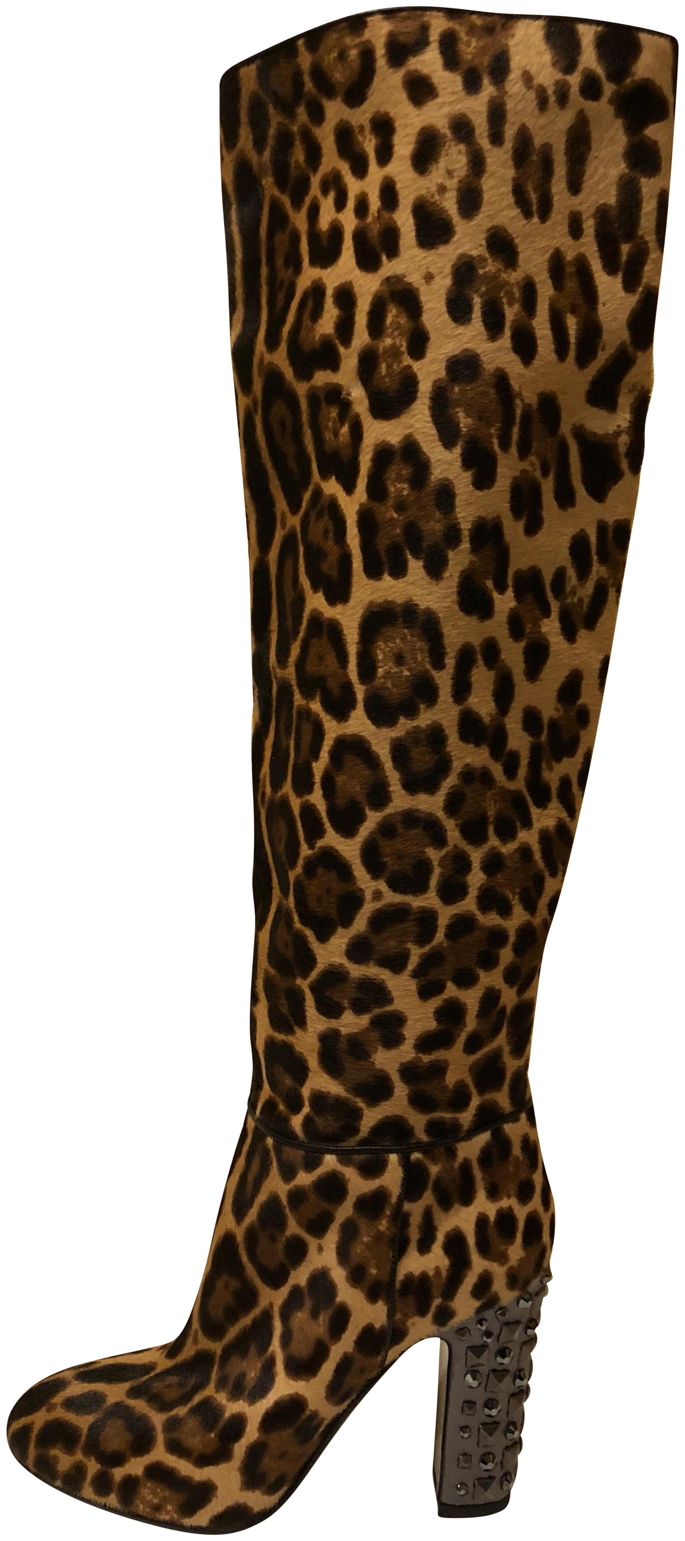 c1596e057 Dolce Gabbana Dolce Gabbana Dolce Gabbana New Leopard Pony Hair Knee  Studded Heel High Leather Boots Booties Size
