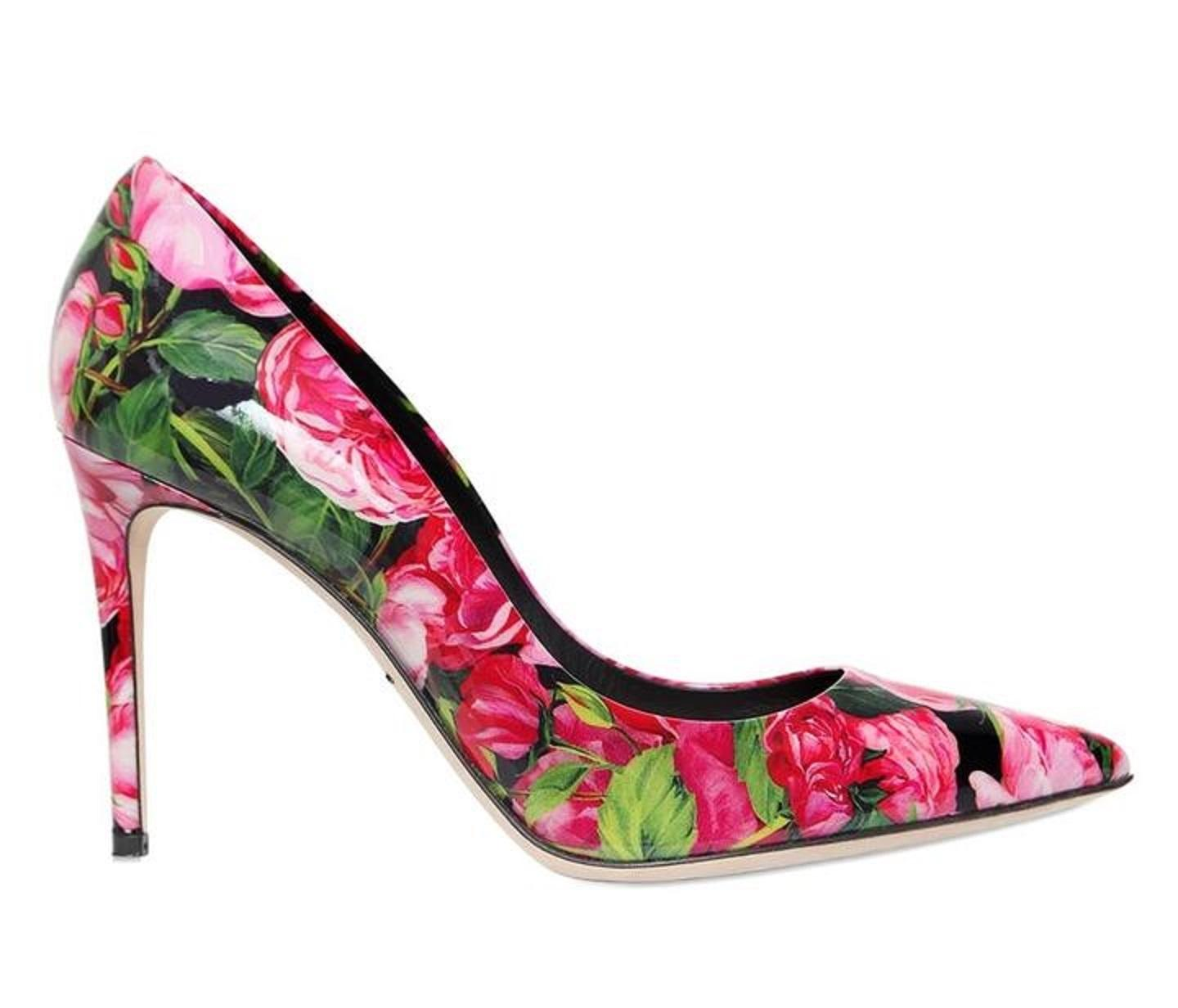 2d4caffd263a Dolce amp Gabbana New Rose Print Pointy Pointy Pointy Toe Leather ...