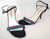 Dolce&Gabbana Silk Colored Sequin Strappy Heels Sandals Blacks Pumps
