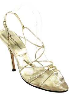 Dolce&Gabbana Strappy D&g Made In Italy Gold Sandals