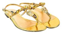 Dolce&Gabbana Dolce Gabbana Gold Metallic Gold, Brushed Gold-Tone, Gray, Brown Sandals