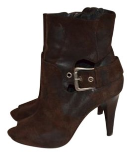 Donald J. Pliner J Waxed Leather Peep Toe Ankle 4 Heels Brown Boots