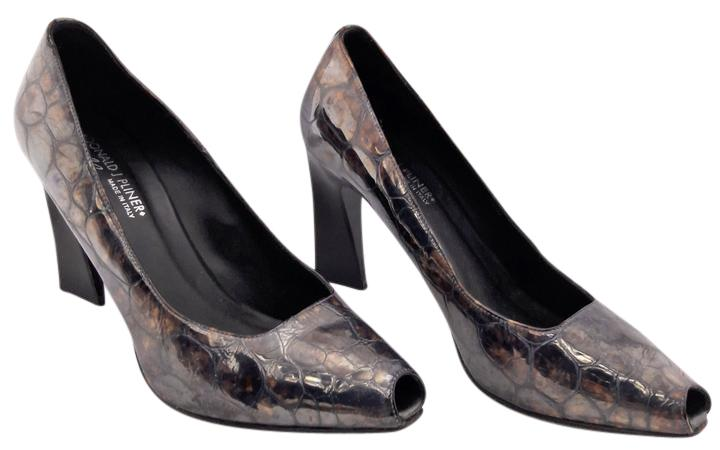 Donald J Pliner Embossed Patent Leather Pumps