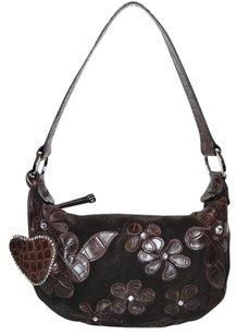 Donald J. Pliner Croc Embossed Heart Charm Hobo Bag