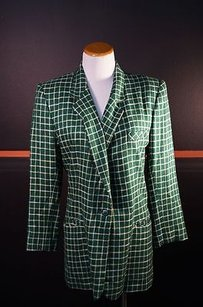 Doncaster Blazer Poly Blend Plaid Lined B18563 Green Jacket
