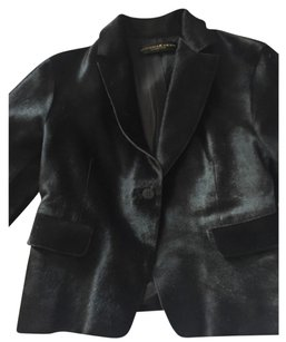 Donna Karan Black Pony Jacket Leather Jacket