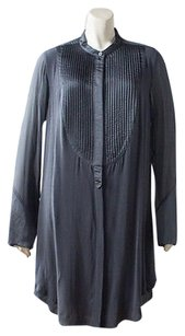 Donna Karan Teal Silk Pleated Bib Front Shirt Hs1582 Tunic