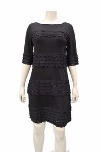 Donna Morgan short dress Blacks Matte Shift Ruffled Detail 30972rm on Tradesy