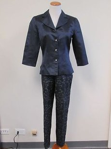 Donna Ricco Donna Ricco Navy Blue Sleeves Button Front Blouseevening Pant Set Sz4 E048