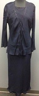 Blue Maxi Dress by Donna Ricco Navy Pc Rayon Sequin Accent W Sheer Jacket Sm7628