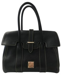 Dooney & Bourke Classic Small Leather Contrast Satchel in Black