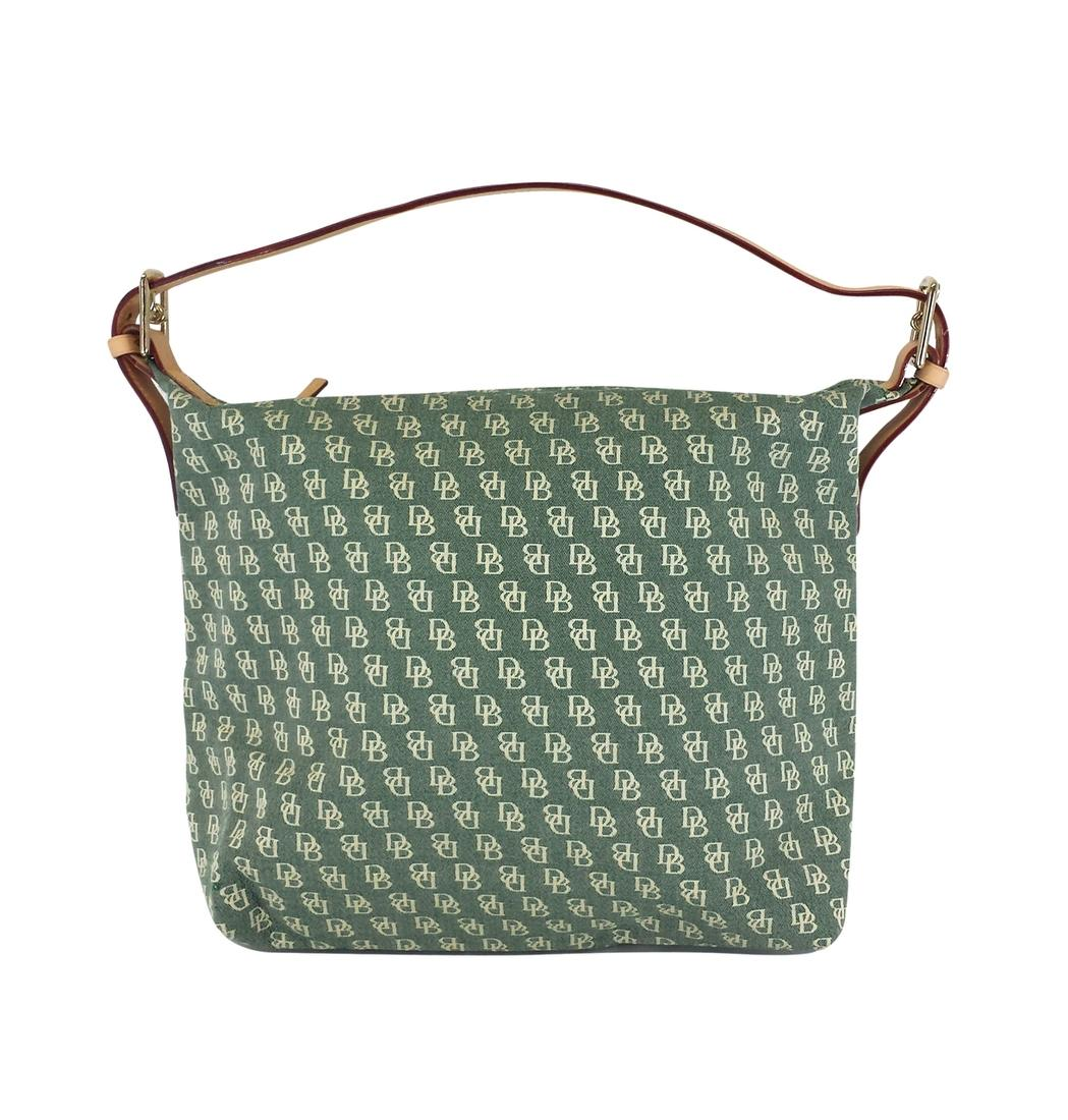 Dooney & Bourke Green & Cream Canvas Monogram Hobo Bag | Hobos on Sale