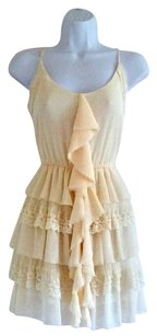 Double Zero short dress Cream Ruffles Feminine Girly Lacy Ruffled on Tradesy