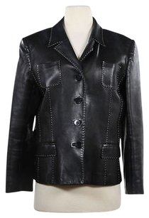 Douglas Hannant Womens White Leather Coat Black Jacket