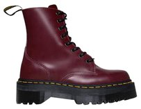 Dr. Martens Laces Up Ankle Chunky Heel Traditional Cherry Red Boots