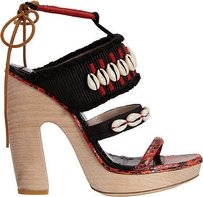 Dries van Noten Cowrie Shell And Sandal Red / Black Platforms
