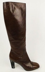 Dries van Noten Leather Knee High Heel Zip Up Brown Boots