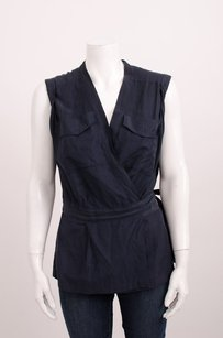 Dries van Noten Navy Silk Cargo Sleeveless Wrap 386m Top Blue