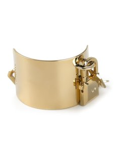 DSquared Dsquared2 D2 Gold Plated Pad Lock Machain Manchette Fashion Womens Cuff Bracelet