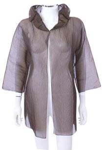 DUSAN Silk Sheer Jacket Top Brown