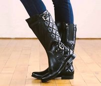 Earthies Sevilla Quilted Knee Black Boots