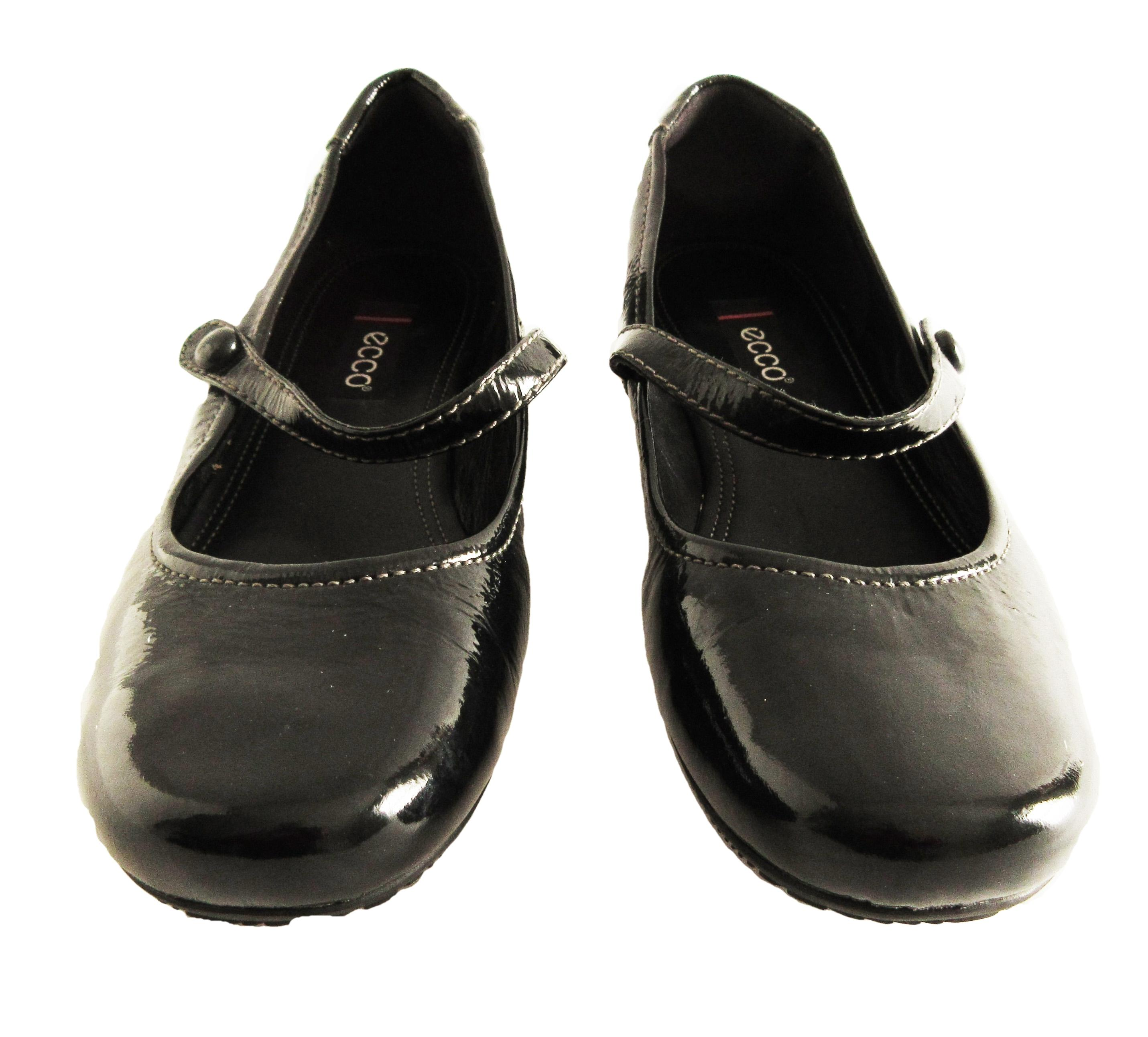 Ecco Patent Leather Mary Jane Black Flats ...
