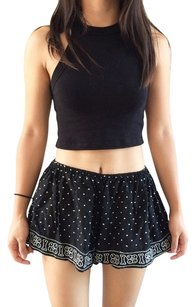 Ecote Boho Elastic Embroidered Shorts Black