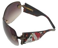 Ed Hardy Ed Hardy Brown Rhinestone Crosses Heart Sunglasses With Case Ehs023 B177