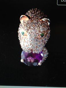 EFFY Effy Diamond/Amethyst and Emerald Panther Ring