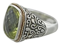EFFY Effy Sterling Silver 18k Yellow Gold Cushion Cut Peridot Cocktail Ring