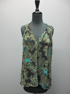 Eight Sixty Floral Sleeveless Sheer Tank Sm7212 Top Navy Blue
