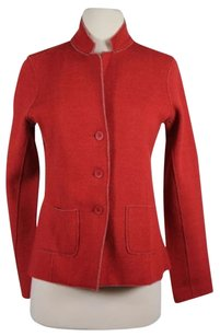 Eileen Fisher Womens Petites Blazer Pp Wool Basic Long Sleeve Red Jacket