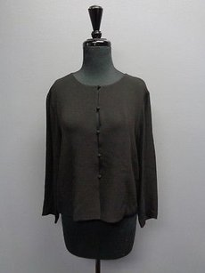 Eileen Fisher Button Up Silk Sma3287 Top Black