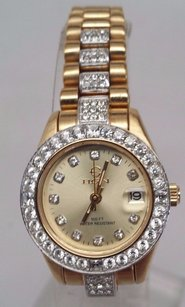 Elgin Elgin Ecm094 Womens Gold Tone Crystal Accent White Dial Watch Sold As Is