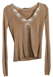 Elie Tahari Beaded V-neck Thin Knit Top Brown