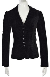 Elie Tahari Elie Tahari Womens Black Embroidered Blazer Long Sleeve Career Jacket