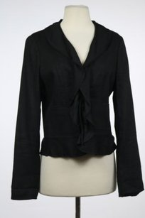 Elie Tahari Elie Tahari Womens Black Blazer Linen Long Sleeve Career Basic Jacket