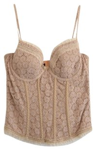 Elie Tahari Embroidered Lace Neutral Top Beige