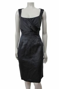 Elie Tahari Satin Cleary In Scoop Neck Crossover Front Dress