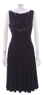 Eliza J Sequin Beaded Ribbon Flowy Ruched Dress